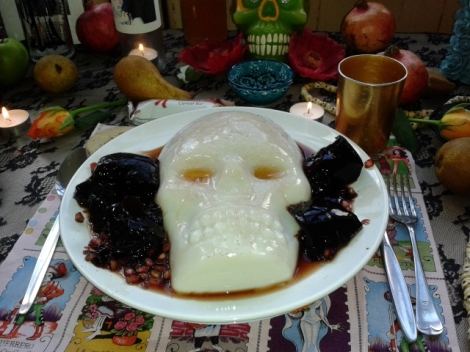 Jello skulls made of pomegranate juice, fruit and coconut.